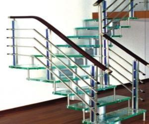 with stainless steel handrails